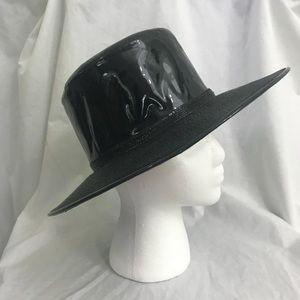 60s Black Patent and Straw Round Wie Brim Hat